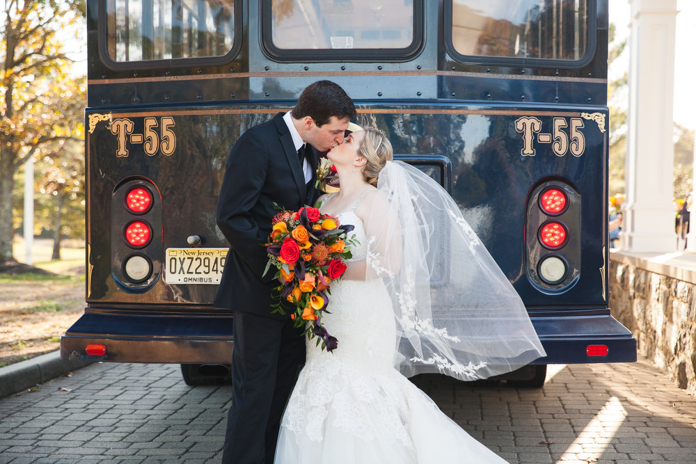 Stone Harbor Country Club NJ Fall Wedding Trolley Danielle Salerno Photography
