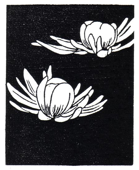 """April 8"" linocut; 4 x 5"" image size, 8 x 9"" paper size; printed on HP55 handmade laid rice paper; edition of 8; 2012; unframed"