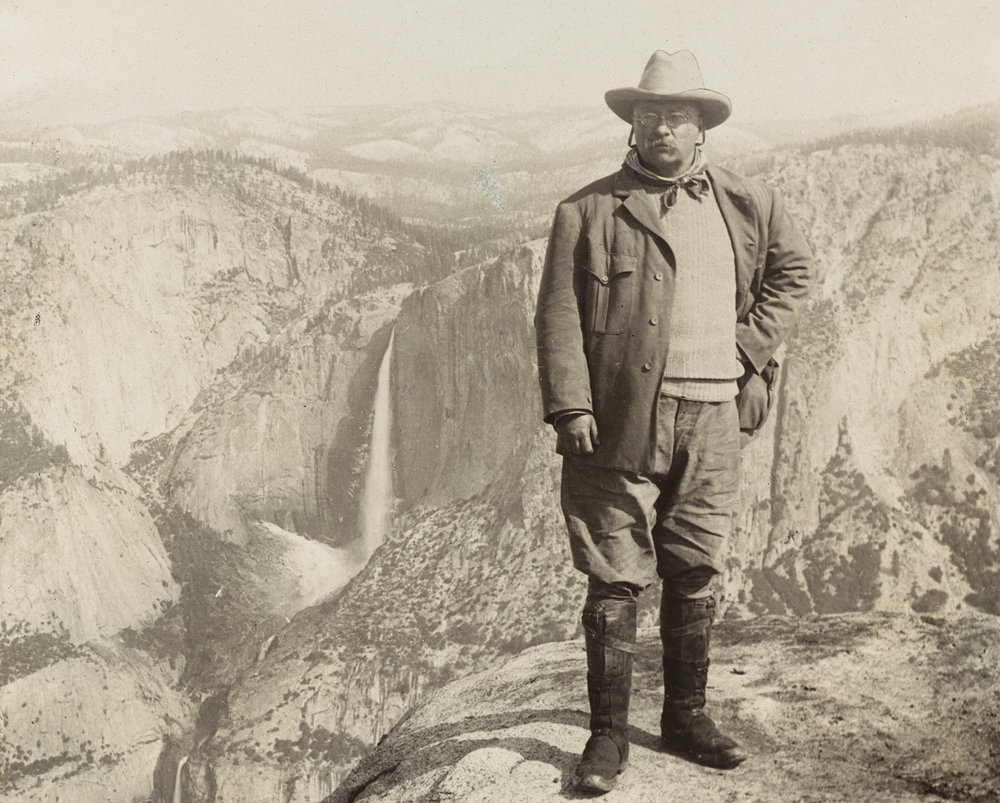 Pictured here at Yosemite National Park, Theodore Roosevelt is an individual who stood his ground against the tide of unchecked industrialization in the United States.  Not avidly against or avidly in favor, he instead chose to make his own political decisions largely divorced from the realm of corporate interest.  Photographic portraits of Roosevelt are sometimes confusing in how variant they are; for every photo of him orating in a suit, there is another of him striking a stoic pose in the thick of the wilderness.