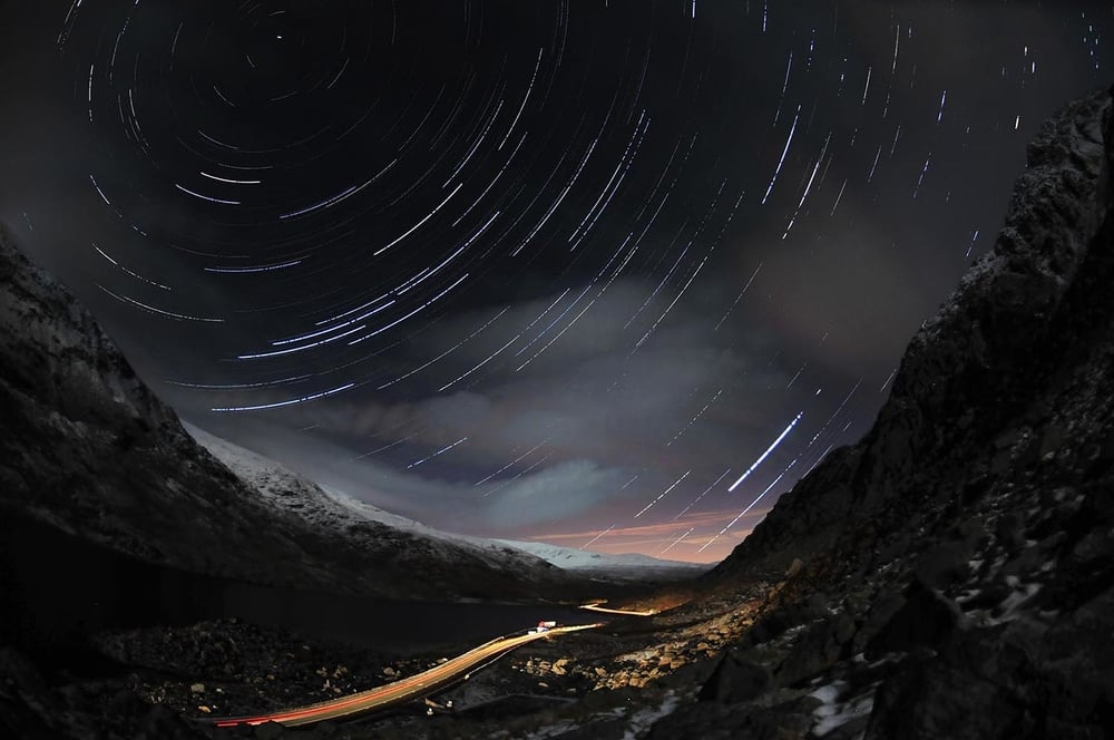 The Ogwen Valley at night from the slopes of Tryfan