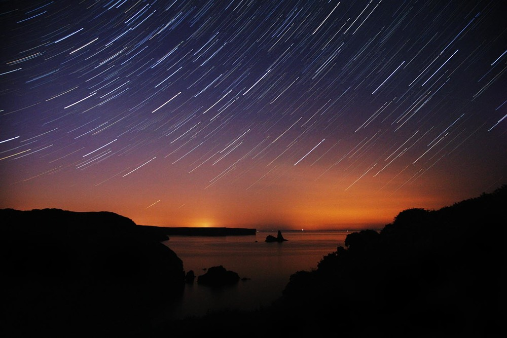 Star Trails above Star Rock, west Wales