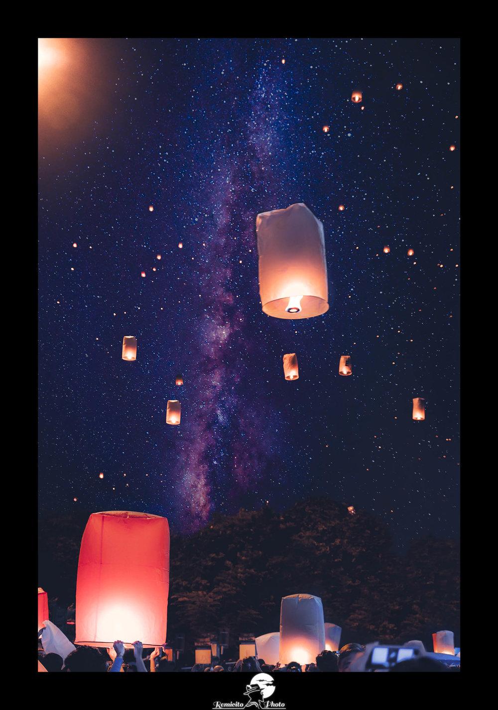 remicito photo, remicito, photo du jour, image du jour, lanternes ciel, lanternes thaïlande, photo jour de l'an, new year's eve, belle photo