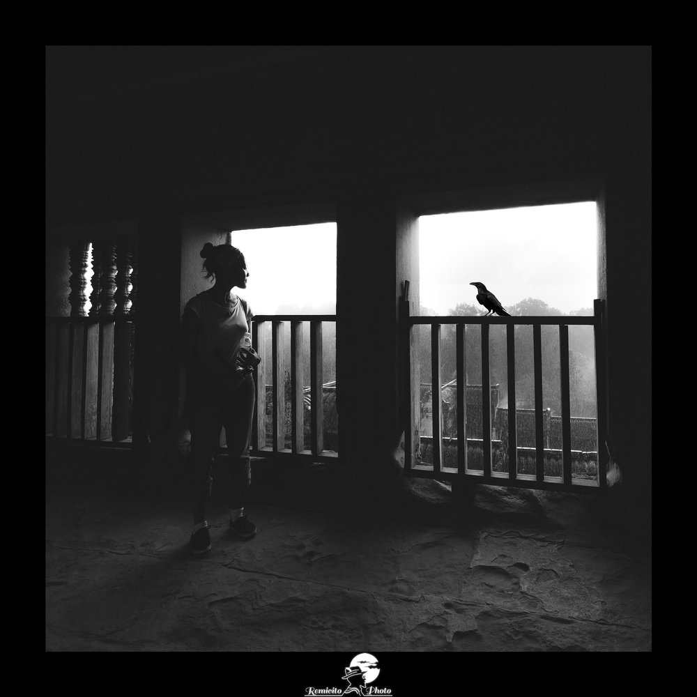 remicito photo, remicito, image du jour, photo du jour, photo of the day, photo corbeau noir et blanc, femme et corbeau, oiseau cambodge, photo noir et blanc femme oiseau, belle photo, idée déco, idée cadeau
