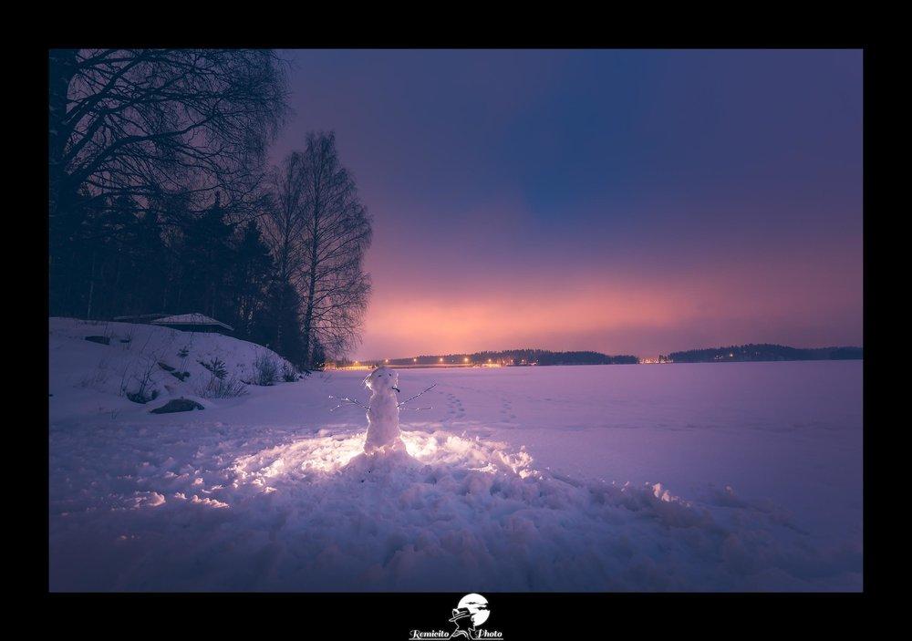 remicito photo, remicito, image du jour, photo du jour remicito, belle photo et citation, photo bonhomme de neige citation, belle photo lac gelé finlande, idée cadeau belle photo neige