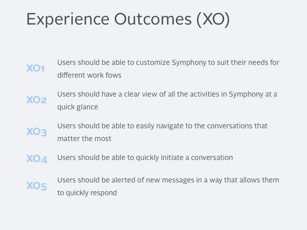 An initial set of user experience goals.