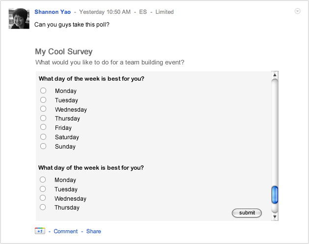 Embedding a Google form.