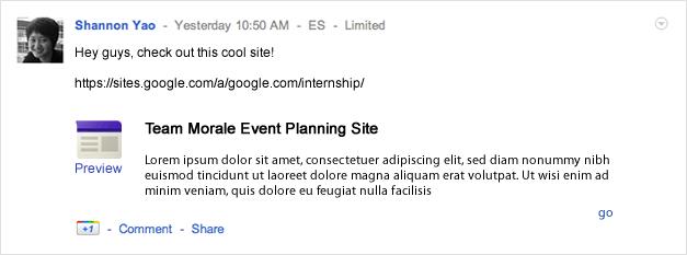 Embedding a Google site.