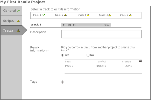 Providing information on all the tracks included in the project.