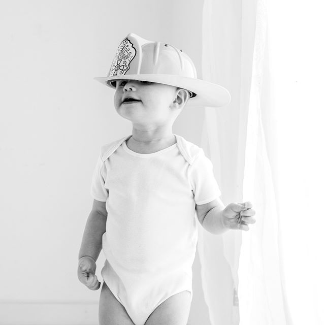 When I grow up I want to be just like my daddy.....who is actually a fireman, how cool! . . . . . . . #fireman #firemen #baby #white #cute #love #natural #whitestudio #naturallight #lookslikefilm #kilmacolm #inverclyde #renfrewshire #bridgeofweir #paisley #photographer #photography #gurgle #toddle #magazine
