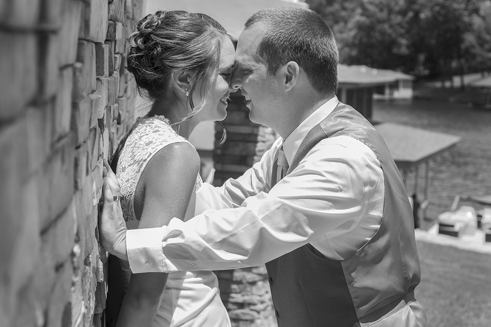 Lake Gaston Wedding Picture Bride and Groom Pose Black and White