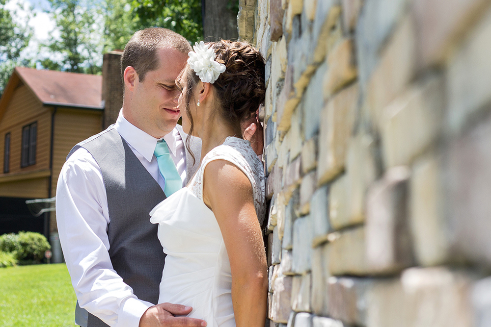 Lake Gaston Wedding Picture Bride and Groom Pose Intimate
