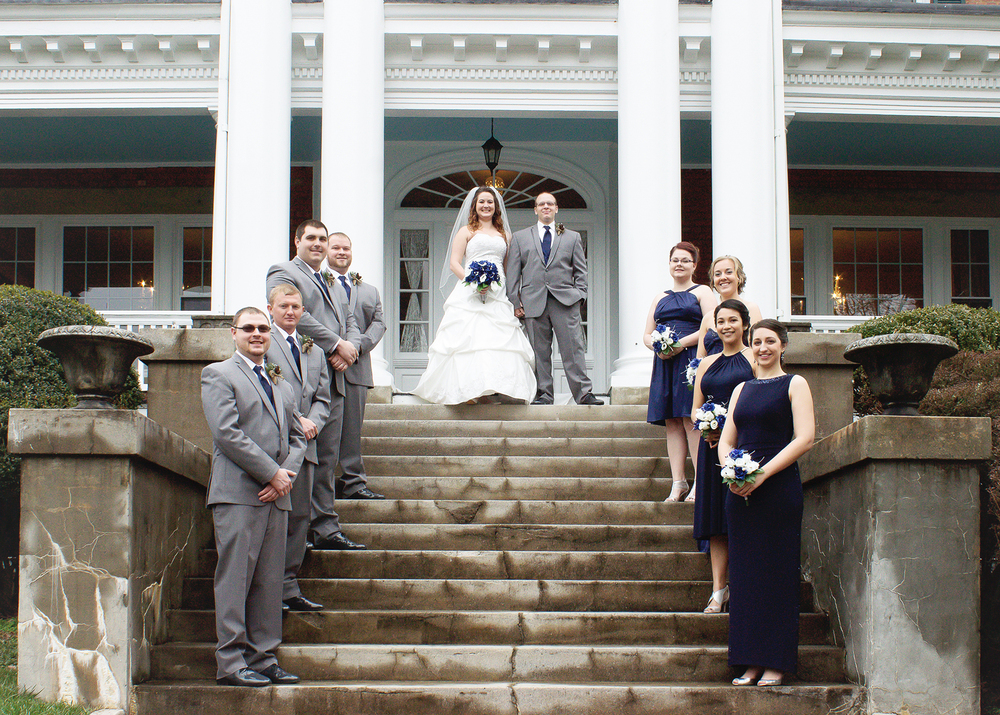 Bridal Party on steps of Hill Crest