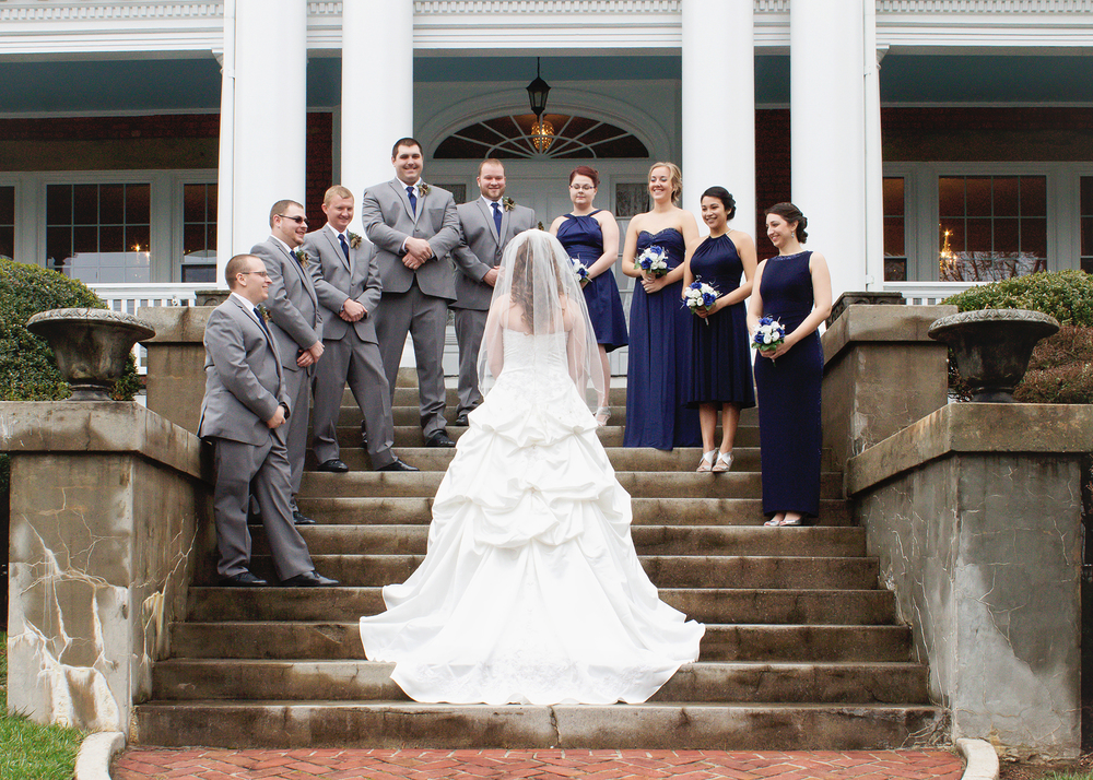 Bridal Party posing on the Steps
