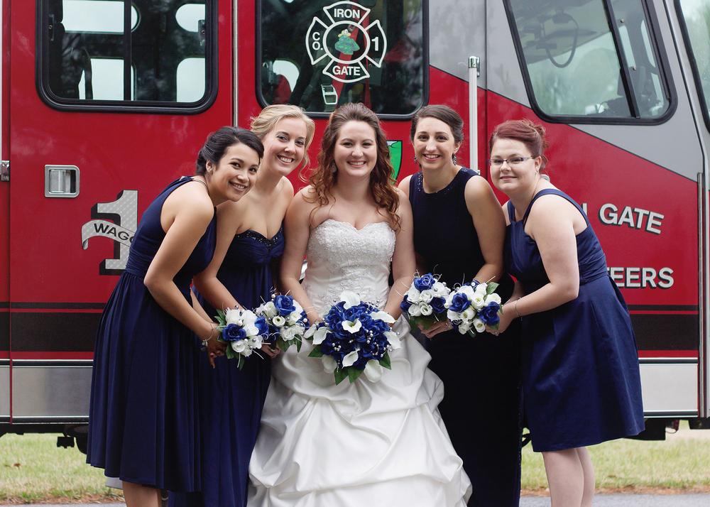 Firefighter Wedding Bridesmaid Pose