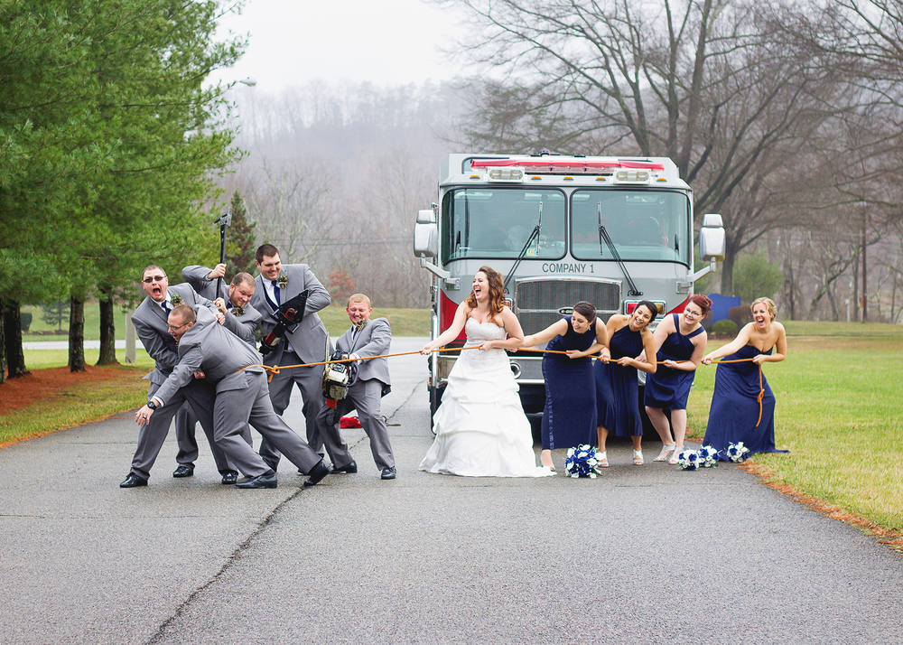 Firefighter Wedding Posed Shot