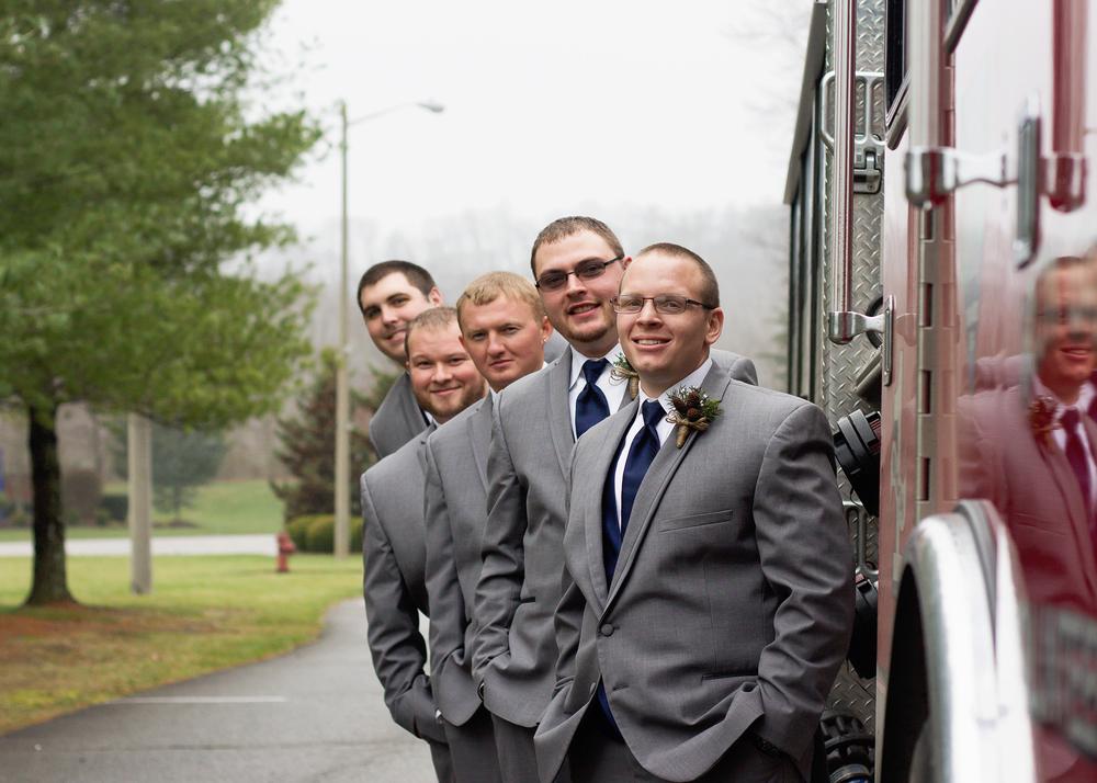 Firefighter Groomsmen Pose, Alleghany Wedding Photographer