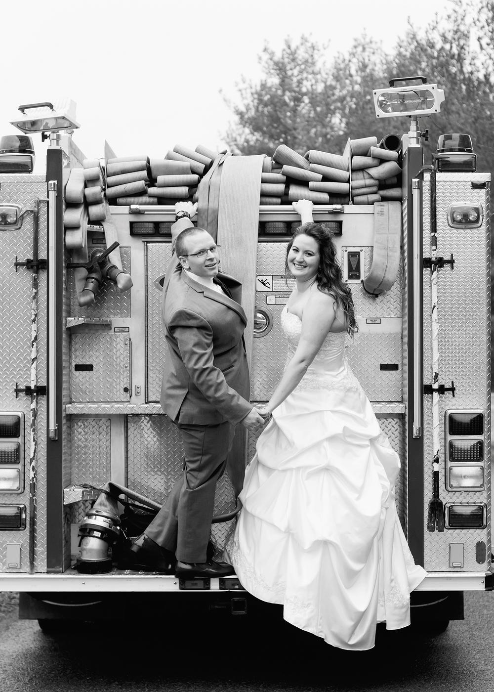 Firefighter Wedding Newlywed Pose