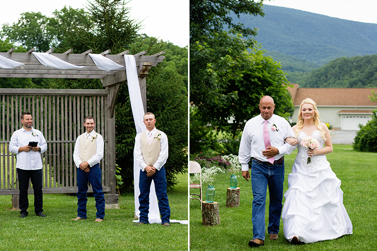 wedding-photographers-staunton-virginia-first-look-coming-down-aisle