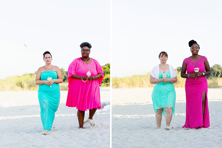 freight-shed-wedding-yorktown-virginia-photographers-bridesmaids-walking-down-beach