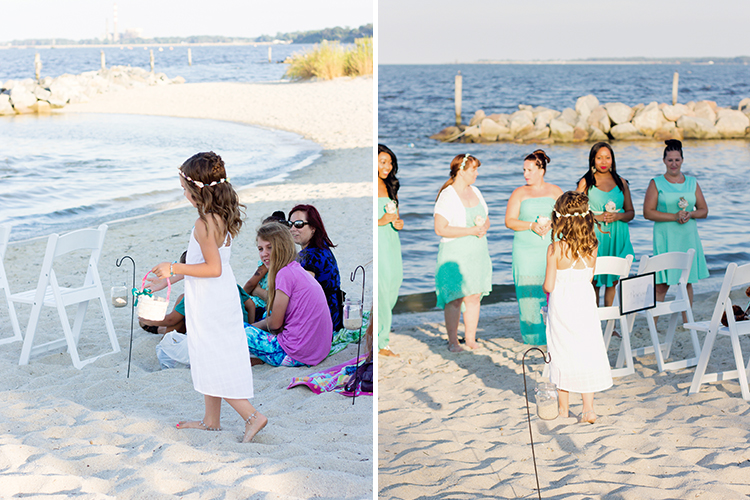 freight-shed-wedding-yorktown-virginia-photographers-flower-girl-walking-on-beach