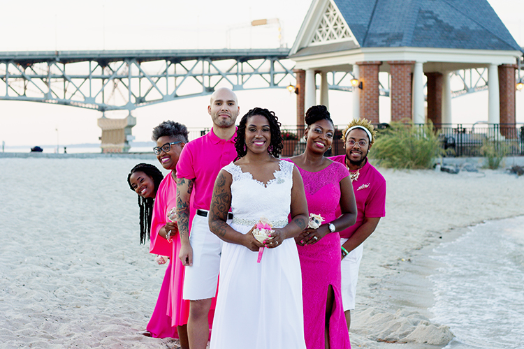 freight-shed-wedding-yorktown-virginia-photographers-brides-bridesmaid-group-shot-beach