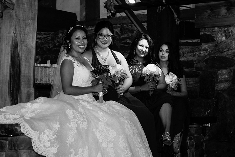 bella-rose-plantation-wedding-lynchburg-virginia-bridesmaids-bride-pose-inside-mill-room