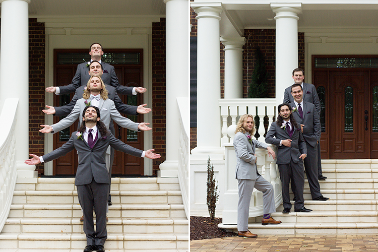 bella-rose-plantation-wedding-lynchburg-virginia-groomsmen-fun-pose-outside