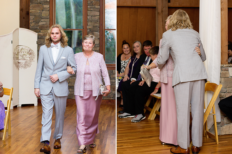 bella-rose-plantation-wedding-lynchburg-virginia-groom-walking-mother-down-aisle-hugging-her