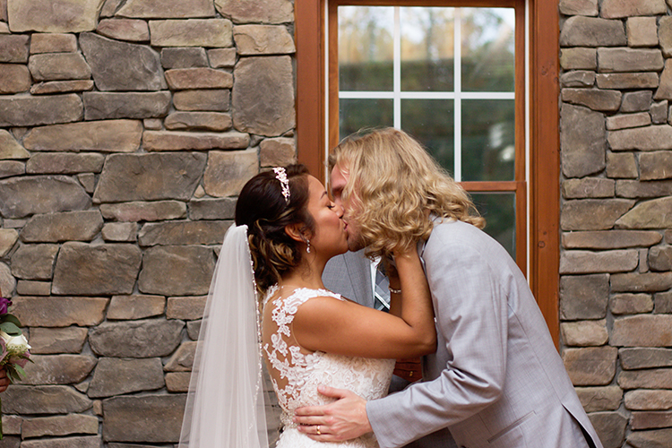 bella-rose-plantation-wedding-lynchburg-virginia-bride-groom-sharing-first-kiss