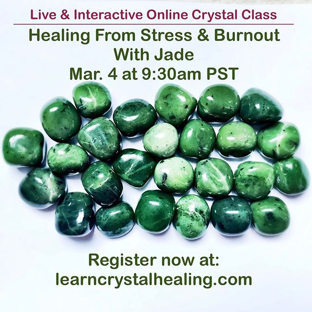 Jade has a wonderful rejuvenating effect that can alleviate stress, burnout and adrenal fatigue. In ancient Asian & Mayan cultures, jade was worked with to improve longevity, vibrancy & youthfulness. Join us for a magical online crystal class. Limited space, register now! 🌟💚🌟 #learncrystalhealing #crystalhealing #jade #onlinecrystalclass #onlinecrystalhealingcourse