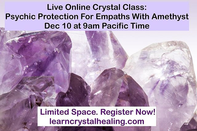 Come join us for a live an interactive online crystal class with Crystal Healing Expert Christa Lynn. If you are a sensitive person who becomes affected by other people's stress, emotions and energies, then this class is for you! You will learn healing techniques with amethyst crystal to boost your protection and keep you in a high vibration. Limited space, register now! #learncrystalhealing #crystalhealing #empath #crystals #gemstones #gemstonejewellery #crystaljewelry #amethyst #crystalclass #boho #bohostyle