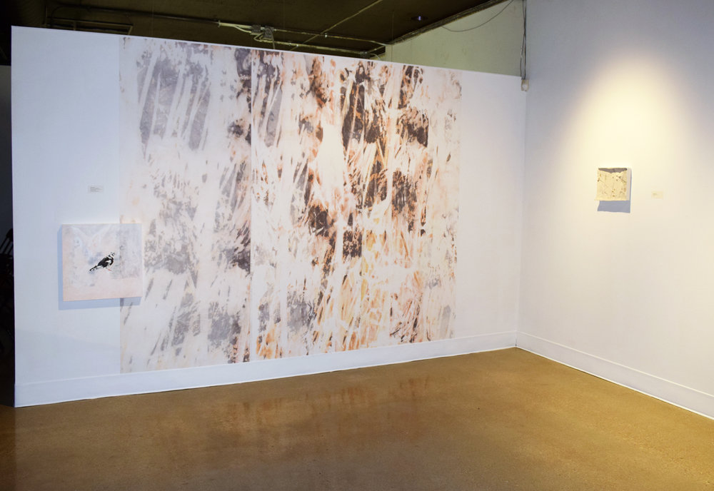 Pigeon in Park , oil and image transfer on canvas panel, 20 x 20 inchces, 2018   Garden , image transfer on adhesive wallpaper, 9 x 12 feet, 2017   Garden (ground) , plaster, 10 x 12 inches, 2017  Installation view of  Lake Effect  at Morlan Gallery, 2018