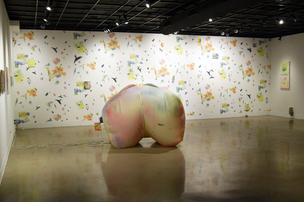 Susanna Coffey (left paintings), Jaclyn Mednicov (back wall installation), Claire Ashley (inflatable object)  Installation view from  Lake Effect  at Morlan Gallery