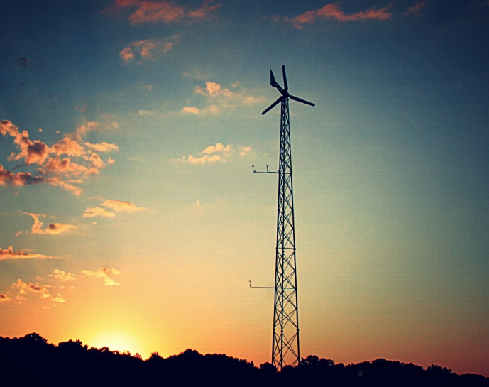 Weaver 5 kW wind turbine at sunset. wind power. wind turbine. wind energy. renewable energy. microgrid. off-grid.