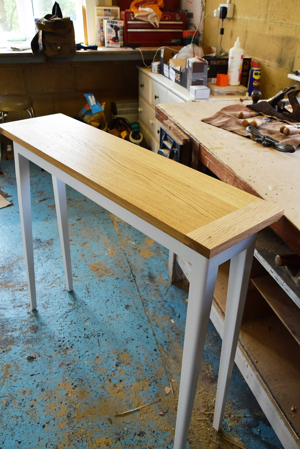 hall table oak and white.JPG