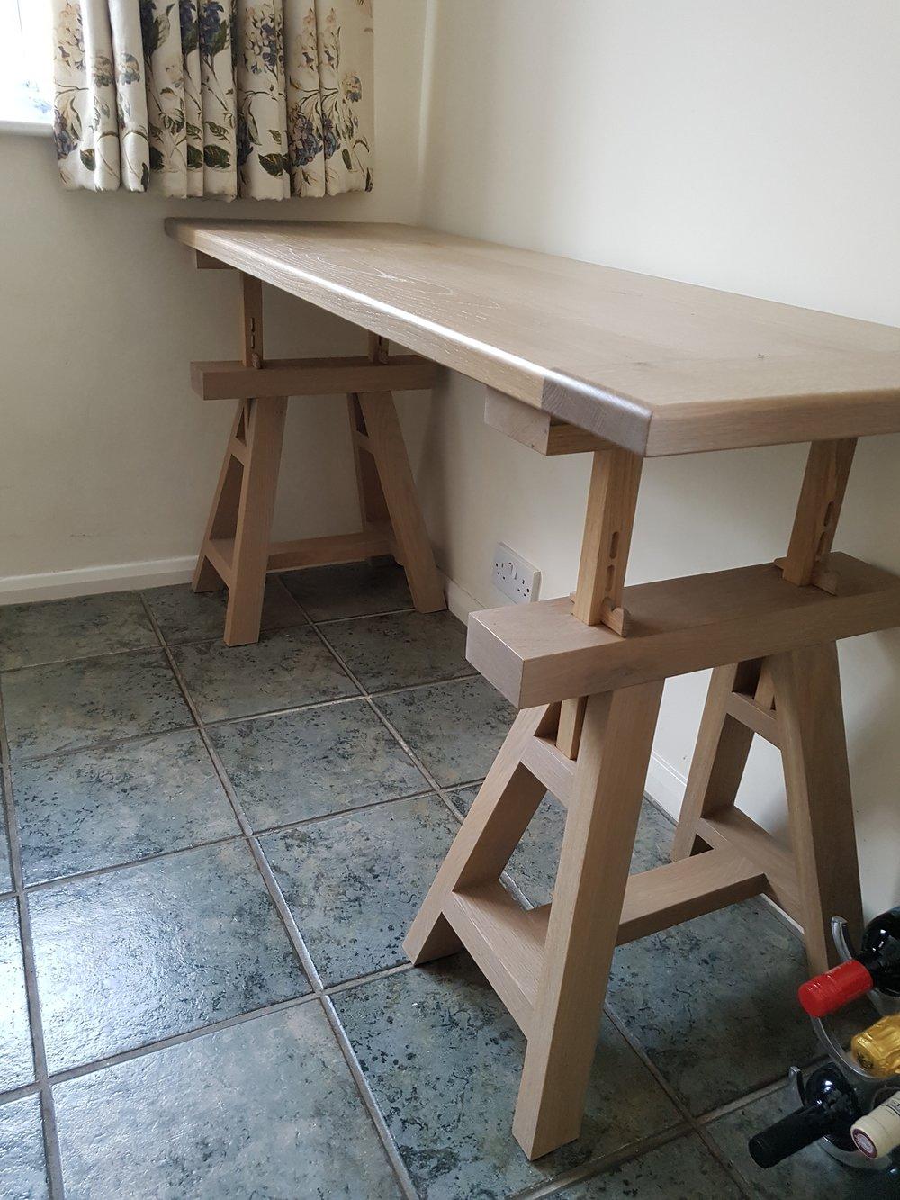 Adjustable Oak Trestle Table