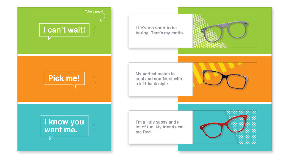 """Three frame styles vie for your attention in this interactive """"Dating Game""""-style piece. The frames sent to each individual are based on previous purchases."""