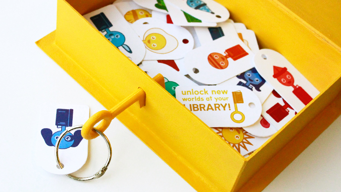 Unlock New Worlds at Your Library     identity, promotional materials, environmental