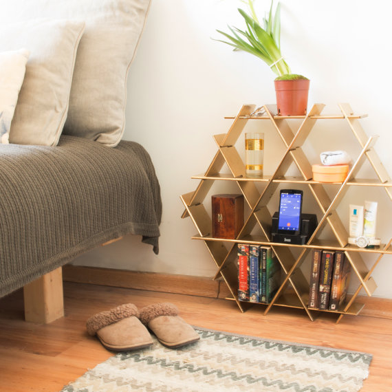 Interesting side table from RucheShelving on Etsy