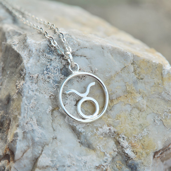 Simple Silver Taurus Necklace by SpringFineArt