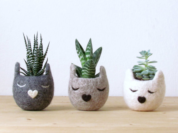 Adorable Felt Planters by TheYarnKitchen