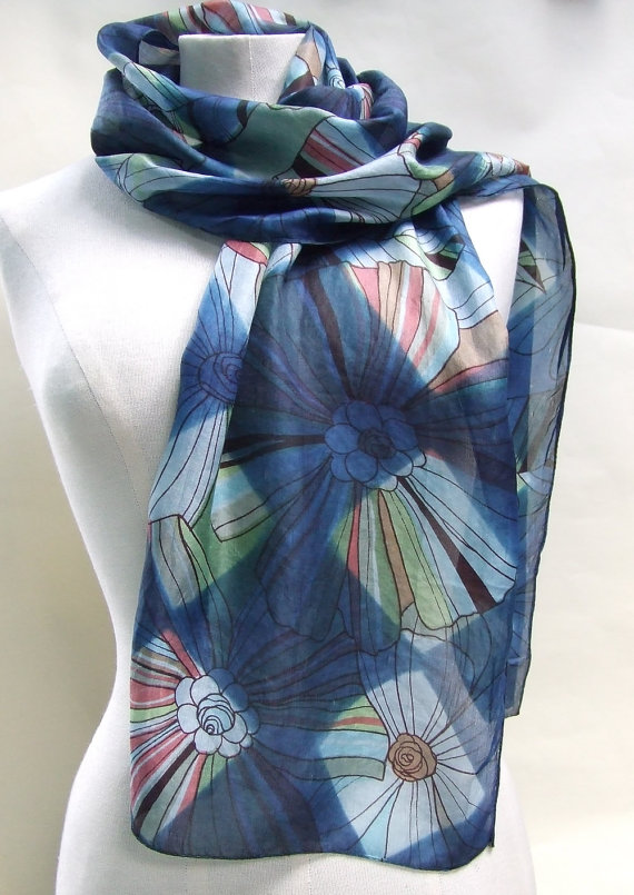 Beautiful Hand Painted Silk Scarf by Flextiles
