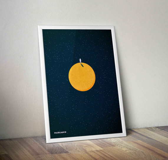 Minimalist Martian Poster by BlackDotPrints
