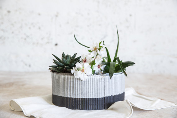 Black and White Ceramic Planter by 1220CeramicsStudio