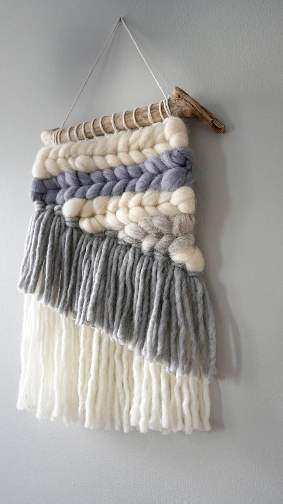 Gray and White Asymmetrical Weaving by WeavingsbyJessica