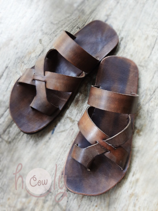 Handmade Brown Leather Sandals by HolyCowProducts