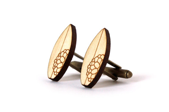 Wood Laser Cut Cuff Links by lesfollesmarquises