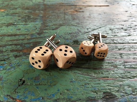 Mini Wooden Dice Cufflinks by QuirkyCuffs