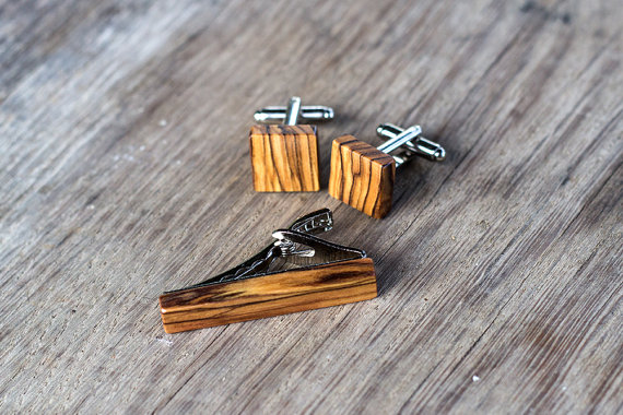 Wooden Tie Clip and Cufflinks by KajzarsWoodWork