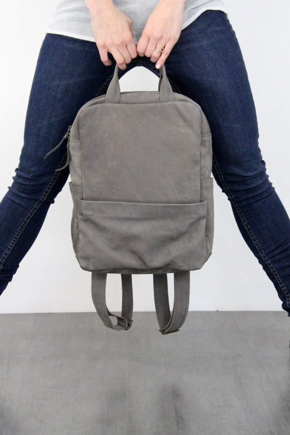 Grey Leather Backpack by LadyBirdesign